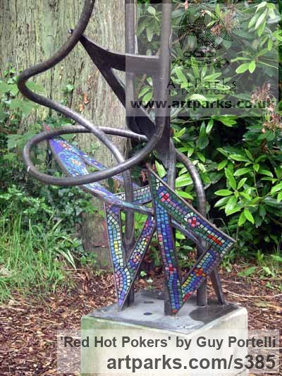 Bronze & Glass Mosaic with stone plinth Garden Or Yard / Outside and Outdoor sculpture by sculptor Guy Portelli titled: 'Red Hot Pokers (Giant Bronze and Mosaic garden sculptures)'