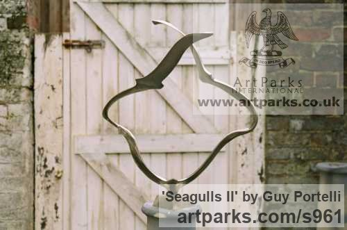 Nickel plated Bronze Garden Or Yard / Outside and Outdoor sculpture by sculptor Guy Portelli titled: 'Seagulls II (Bronze Flying Flock in Flight garden sculpture)'