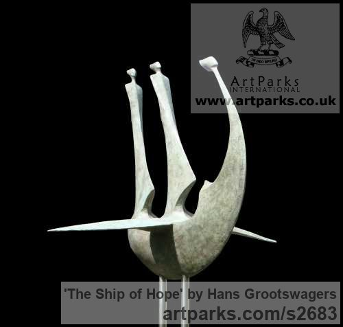 Bronze Abstract Contemporary or Modern Outdoor Outside Exterior Garden / Yard sculpture statuary sculpture by sculptor Hans Grootswagers titled: 'The Ship of Hope (bronze Outdoor abstract Inspirational sculptures)'