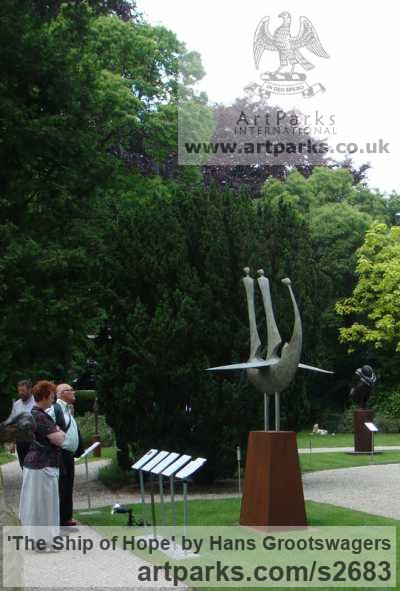 Bronze Abstract Contemporary or Modern Outdoor Outside Exterior Garden / Yard sculpture statuary sculpture by sculptor Hans Grootswagers titled: 'The Ship of Hope (bronze Outdoor abstract Inspirational sculptures)' - Artwork View 2