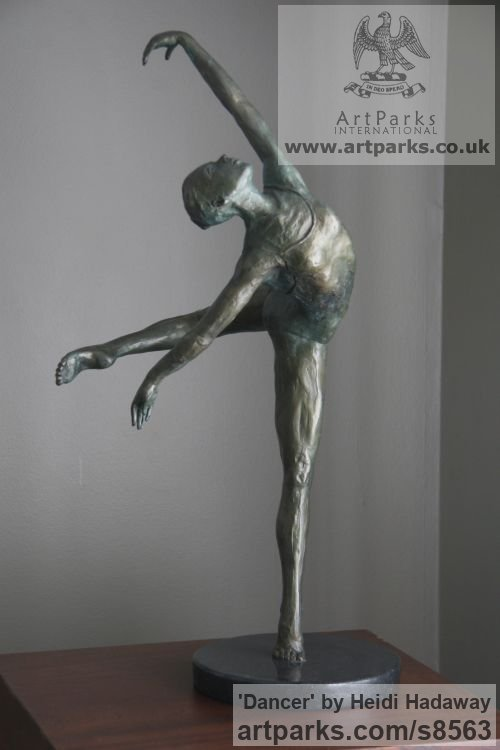 Bronze Sculptures of females by artist Heidi Hadaway titled: 'Dancer (bronze Ballet Dancing Girl smaller than life size sculpture)'