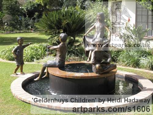 Bronze Children Child Babies Infants Toddlers Kids sculpture statuettes figurines sculpture by sculptor Heidi Hadaway titled: 'Geldenhuys Children (Commission Family Portrait statue)'