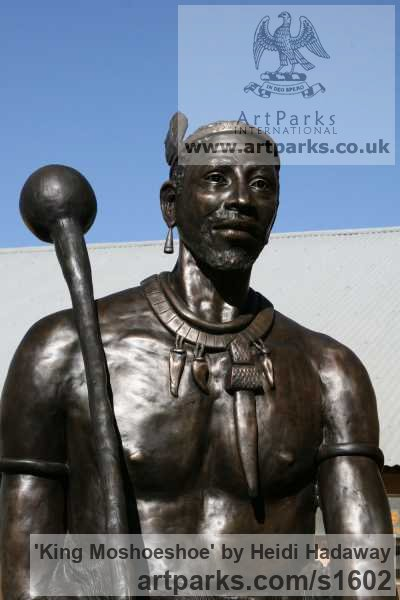Bronze Portrait Sculptures / Commission or Bespoke or Customised sculpture by sculptor Heidi Hadaway titled: 'King Moshoeshoe (Bronze Oversize Life Portrait Monument)' - Artwork View 2
