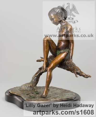 Bronze Portrait Sculptures / Commission or Bespoke or Customised sculpture by sculptor Heidi Hadaway titled: 'Lilly Gazer (Little Bronze Girl and Toe in Water statuette)' - Artwork View 1