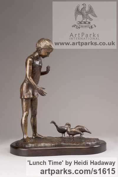 Bronze Sculpture of Children by artist Heidi Hadaway titled: 'Lunch Time (Little bronze Girl Feeding the Birds sculpture, figuruine)'