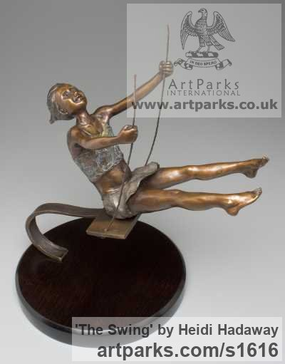Bronze Portrait Sculptures / Commission or Bespoke or Customised sculpture by sculptor Heidi Hadaway titled: 'The Swing (Small Bronze Young Girl on Swing statue/sculpture)'