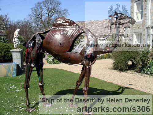 Scrap metal Abstract Contemporary Modern Outdoor Outside Garden / Yard sculpture statuary sculpture by sculptor Helen Denerley titled: 'Ship of the Desert (Objects Trouvees Camel statues)' - Artwork View 3