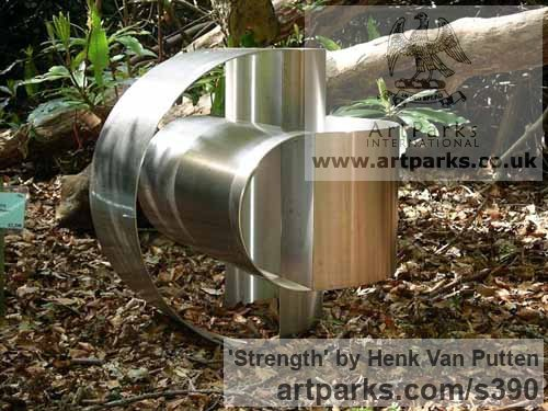 Stainless Steel Garden Or Yard / Outside and Outdoor sculpture by sculptor Henk Van Putten titled: 'Strength (stainless Steel Small abstract sculptures)' - Artwork View 1