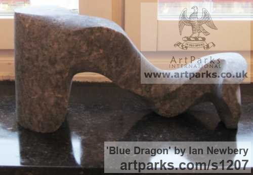 Labrador Animal Abstract Contemporary Modern Stylised Minimalist sculpture by sculptor Ian Newbery titled: 'Blue Dragon (Small Little Modern abstract Indoor stone sculptures)'
