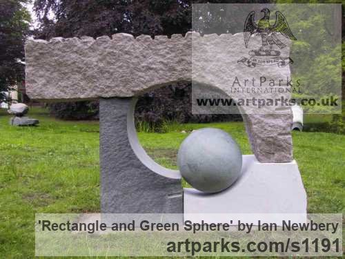 Different types of stone Abstract Contemporary Modern Outdoor Outside Garden / Yard sculpture statuary sculpture by sculptor Ian Newbery titled: 'Rectangle and Green Sphere (Modern abstract Carved stone sculpture)'