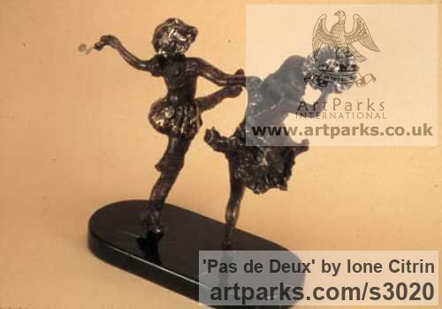 Bronze Females Women Girls Ladies sculpture statuettes figurines sculpture by sculptor ione Citrin titled: 'Pas de Deux'
