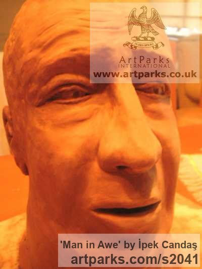 Terracotta Portrait Sculptures / Commission or Bespoke or Customised sculpture by sculptor İpek Candaş titled: 'Man in Awe (Terracotta life size Commission Bust sculpture)'