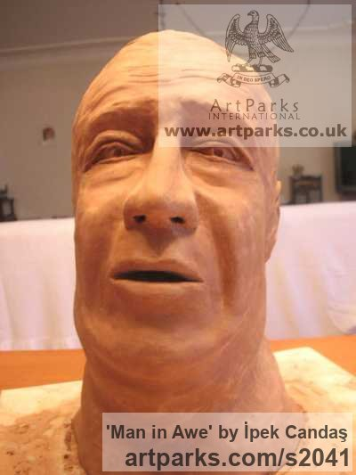 Terracotta Portrait Sculptures / Commission or Bespoke or Customised sculpture by sculptor İpek Candaş titled: 'Man in Awe (Terracotta life size Commission Bust sculpture)' - Artwork View 2