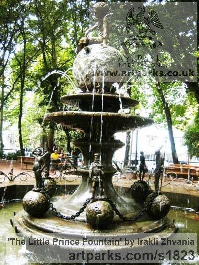Bronze, granite stone Water Features, Fountains and Cascades sculpture by sculptor Irakli Zhvania titled: 'The Little Prince Fountain (Big Public/Urban Landscape Fountain statue)'