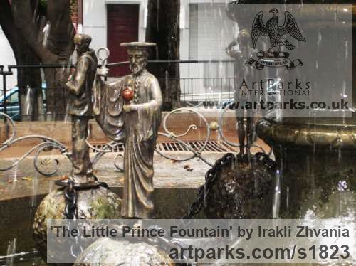 Bronze, granite stone Water Features, Fountains and Cascades sculpture by sculptor Irakli Zhvania titled: 'The Little Prince Fountain (Big Public/Urban Landscape Fountain statue)' - Artwork View 3