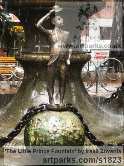Bronze, granite stone Water Features, Fountains and Cascades sculpture by sculptor Irakli Zhvania titled: 'The Little Prince Fountain (Big Public/Urban Landscape Fountain statue)' - Artwork View 4