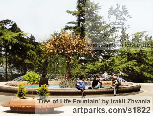 Copper Garden Or Yard / Outside and Outdoor sculpture by sculptor Irakli Zhvania titled: 'Tree of Life Fountain (Large Copper Public Art Water Feature/statuary)' - Artwork View 1