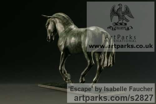 Bronze Horse Sculpture / Equines Race Horses Pack HorseCart Horses Plough Horsess sculpture by sculptor Isabelle Faucher titled: 'Escape (Small Galloping Horse Bronze sculpture)'