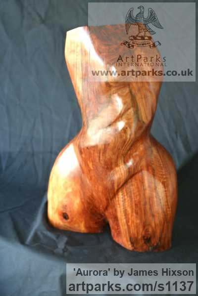 Carved Wood Females Women Girls Ladies sculpture statuettes figurines sculpture by sculptor James Hixson titled: 'Aurora (Carved Wood nude Semi abstract Torso sculpture)'
