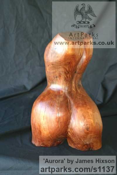 Carved Wood Females Women Girls Ladies sculpture statuettes figurines sculpture by sculptor James Hixson titled: 'Aurora (Carved Wood nude Semi abstract Torso sculpture)' - Artwork View 2