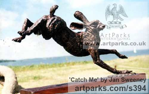 Bronze Garden Or Yard / Outside and Outdoor sculpture by sculptor Jan Sweeney titled: 'Catch Me (Bronze Running Hare sculptures)'