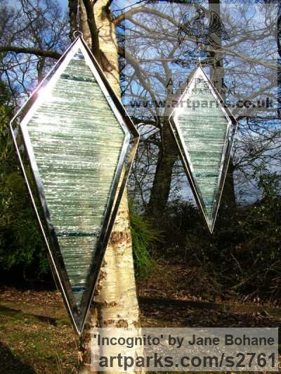 Stainless steel. stained glass Abstract Contemporary or Modern Outdoor Outside Exterior Garden / Yard Sculptures Statues statuary sculpture by artist Jane Bohane titled: 'Incognito (abstract Contemporary Coloured Glass garden Panel statues)' - Artwork View 1