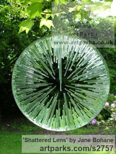 Mirrored stainless steel. float glass. Garden Or Yard / Outside and Outdoor sculpture by sculptor Jane Bohane titled: 'Shattered Lens (Modern Circuarlass garden sculptures)'