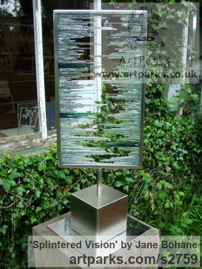 Brushed steel. Glass shards Garden Or Yard / Outside and Outdoor sculpture by sculptor Jane Bohane titled: 'Splintered Vision (Rectangular abstract Glass garden statue)'