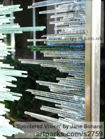 Brushed steel. Glass shards Garden Or Yard / Outside and Outdoor sculpture by sculptor Jane Bohane titled: 'Splintered Vision (Rectangular abstract Glass garden statue)' - Artwork View 2