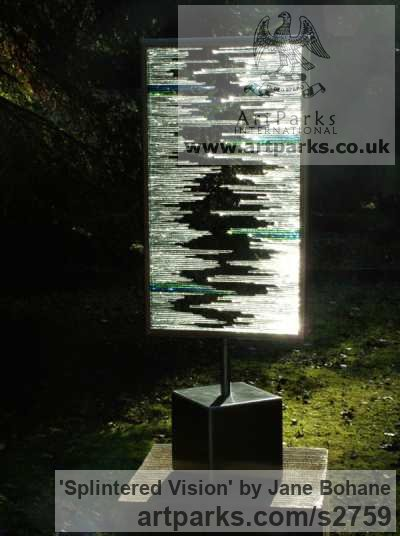 Brushed steel. Glass shards Garden Or Yard / Outside and Outdoor sculpture by sculptor Jane Bohane titled: 'Splintered Vision (Rectangular abstract Glass garden statue)' - Artwork View 3