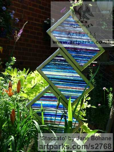 Brushed steel. Glass splinters. Garden Or Yard / Outside and Outdoor sculpture by sculptor Jane Bohane titled: 'Staccato (abstract ContemporaryColoured Glass statues)' - Artwork View 4