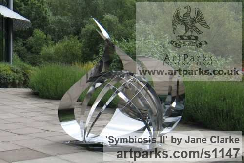 Stainless Steel Garden Or Yard / Outside and Outdoor sculpture by sculptor Jane Clarke titled: 'Symbiosis II (stainless Steel Modern garden sculpture)'