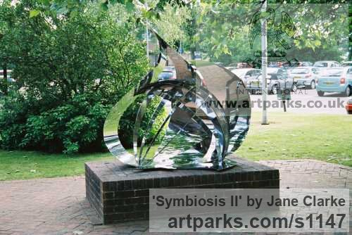 Stainless Steel Garden Or Yard / Outside and Outdoor sculpture by sculptor Jane Clarke titled: 'Symbiosis II (stainless Steel Modern garden sculpture)' - Artwork View 2