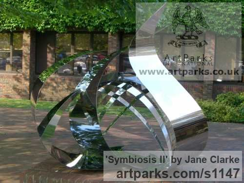 Stainless Steel Garden Or Yard / Outside and Outdoor sculpture by sculptor Jane Clarke titled: 'Symbiosis II (stainless Steel Modern garden sculpture)' - Artwork View 3