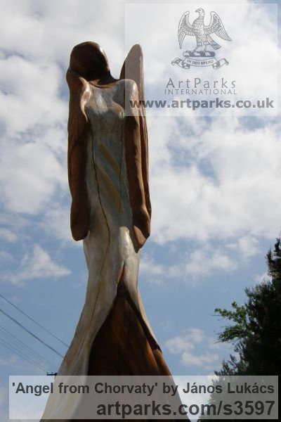 Wood /chery/ Garden Or Yard / Outside and Outdoor sculpture by sculptor János Lukács titled: 'Angel from Chorvaty (Carved Wood female Angel sculptures/statues)' - Artwork View 1