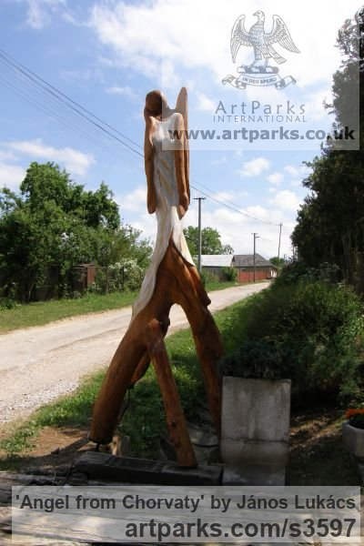 Wood /chery/ Garden Or Yard / Outside and Outdoor sculpture by sculptor János Lukács titled: 'Angel from Chorvaty (Carved Wood female Angel sculptures/statues)' - Artwork View 2