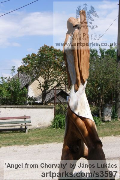 Wood /chery/ Garden Or Yard / Outside and Outdoor sculpture by sculptor János Lukács titled: 'Angel from Chorvaty (Carved Wood female Angel sculptures/statues)' - Artwork View 3