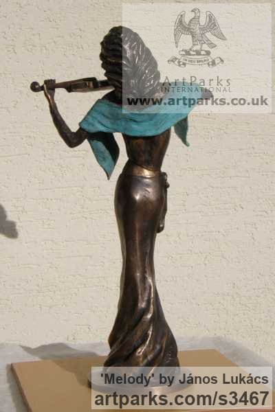 Bronze Females Women Girls Ladies sculpture statuettes figurines sculpture by sculptor János Lukács titled: 'Melody (Bronze Little Girl female Violinist statues)' - Artwork View 3