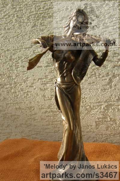 Bronze Females Women Girls Ladies sculpture statuettes figurines sculpture by sculptor János Lukács titled: 'Melody (Bronze Little Girl female Violinist statues)' - Artwork View 4