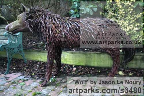 Mild Steel Dogs sculpture by sculptor Jason Le Noury titled: 'Wolf (Steel Bar Wolf Welded garden/Yard sculpture)' - Artwork View 3