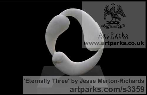Florentine alabaster on black granite Abstract Plants Fruits Trees Leaves Flowers sculpture by sculptor Jesse Merton-Richards titled: 'Eternally Three (Little Indoor abstract Alabaster sculptures)' - Artwork View 1
