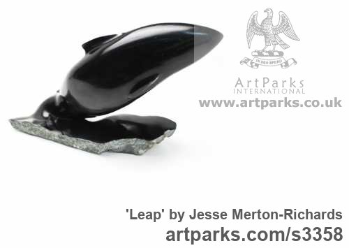 Indian Serpentine stone Carved Abstract Contemporary Modern sculpture carving sculpture by sculptor Jesse Merton-Richards titled: 'Leap (Carved abstract Modern stone Salmon Leaping garden sculptures)' - Artwork View 2