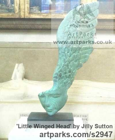 Verdigris Bronze Resin Portrait Sculptures / Commission or Bespoke or Customised sculpture by sculptor Jilly Sutton titled: 'Little Winged Head (Semi abstract Bronze Girl`s Face sculpture/statue)'