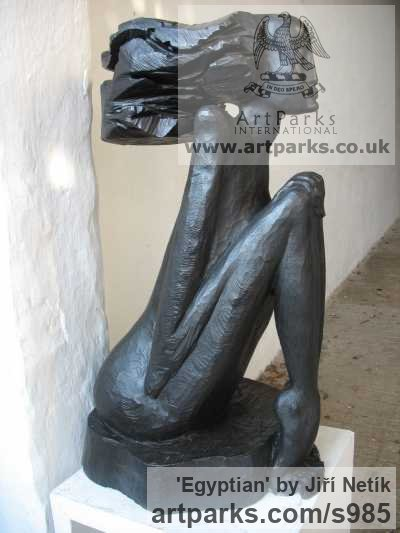 Bronze Abstract Contemporary Modern Outdoor Outside Garden / Yard sculpture statuary sculpture by sculptor Jiří Netík titled: 'Egyptian (Bronze Stylised nude Woman Sitting Yard statue)' - Artwork View 2