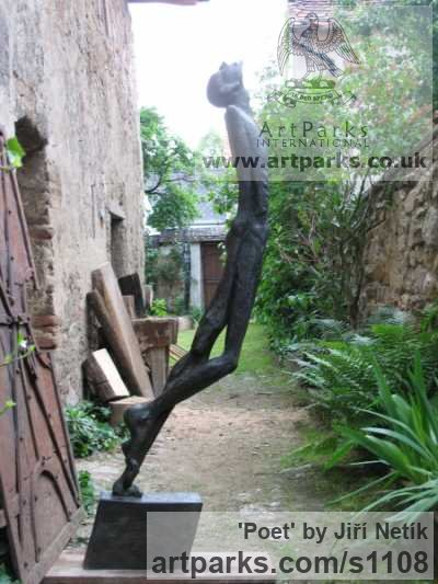 Bronze Abstract Contemporary or Modern Outdoor Outside Exterior Garden / Yard sculpture statuary sculpture by sculptor Jiří Netík titled: 'Poet (Bronze Tall Thin abstract Stylised Male garden sculpture)'
