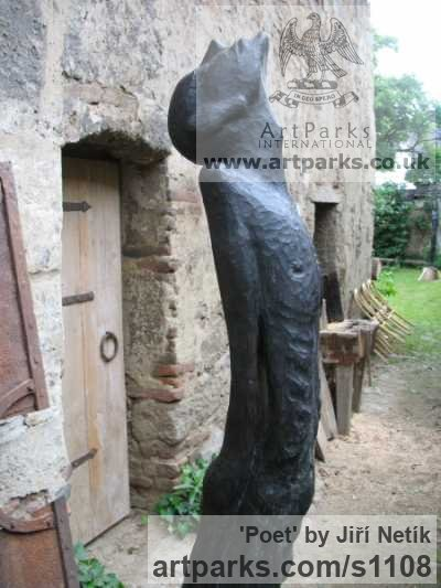 Bronze Abstract Contemporary or Modern Outdoor Outside Exterior Garden / Yard sculpture statuary sculpture by sculptor Jiří Netík titled: 'Poet (Bronze Tall Thin abstract Stylised Male garden sculpture)' - Artwork View 2