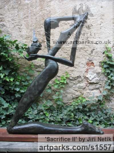 Bronze Nude Garden Yard Outdoor Outside sculpture sculpture by sculptor Jiří Netík titled: 'Sacrifice II (nude Humble Kneeling female Stylised statue)' - Artwork View 1