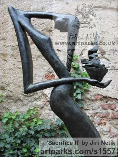 Bronze Nude Garden Yard Outdoor Outside sculpture sculpture by sculptor Jiří Netík titled: 'Sacrifice II (nude Humble Kneeling female Stylised statue)' - Artwork View 4