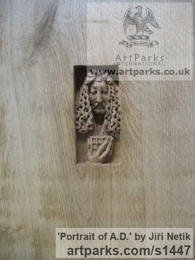 Wood - oak Wall Mounted or Wall Hanging sculpture by sculptor Jiří Netík titled: 'Portrait of A.D. (Small Carved Face Commission Plaques)' - Artwork View 2