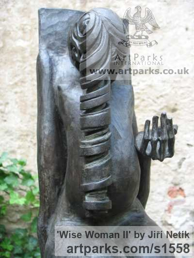 Bronze Garden Or Yard / Outside and Outdoor sculpture by sculptor Jiří Netík titled: 'Wise Woman (Naked Seated Pregnant Girl sculpture)' - Artwork View 4